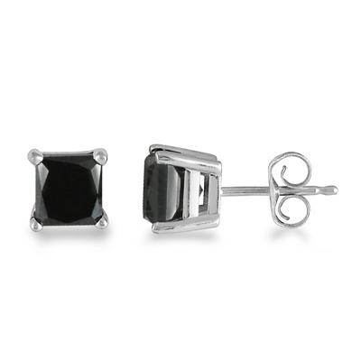 2.00 Carat Black Diamond Princess Cut Stud Earrings in 14K White Gold
