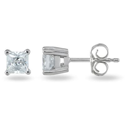 3/4 ct.tw Princess Diamond Solitaire Earrings in 14 kt. White Gold