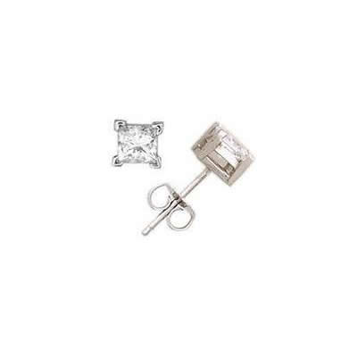 1/10 ct.tw Princess Diamond Solitaire Earrings in 18 kt. White Gold