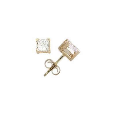 3/4 ct.tw Princess Diamond Solitaire Earrings in 14 kt. Yellow Gold