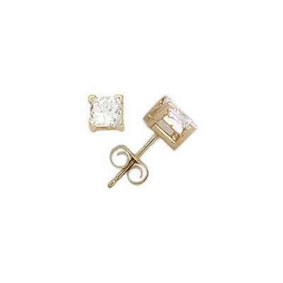 3/8 ct.tw Princess Diamond Solitaire Earrings in 18 kt. Yellow Gold