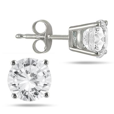 1.00 Carat Round Diamond Solitaire Earrings in 14K White Gold (G-H Color)