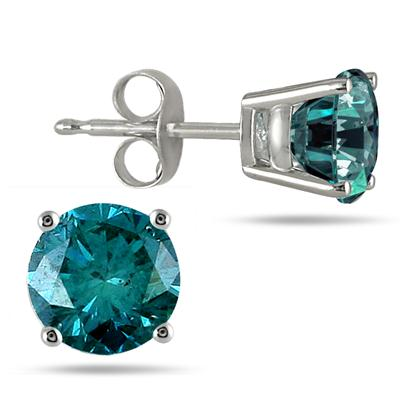 1.50 CTW Round Blue Diamond Solitaire Stud Earrings in 14K White Gold