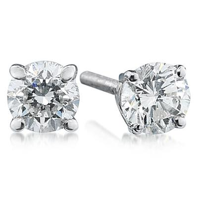 3/4 ct.tw Round Diamond Solitaire Earrings in 14 kt. White Gold