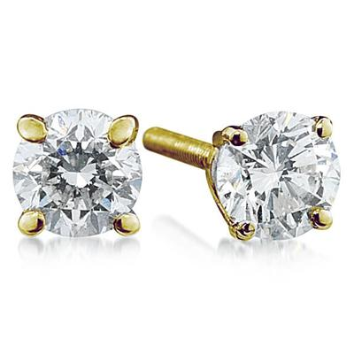 1.00 ct.tw Round Diamond Solitaire Earrings in 14 kt. Yellow Gold