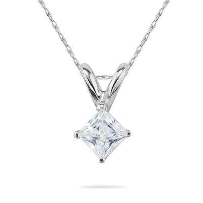 1/4 Carat Princess Diamond Solitaire Pendant in 14K White Gold