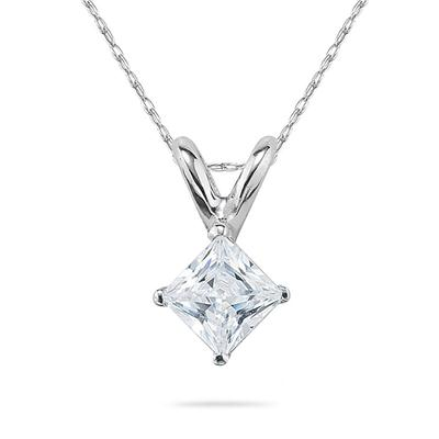 1/2 Carat Princess Diamond Solitaire Pendant in 14K White Gold