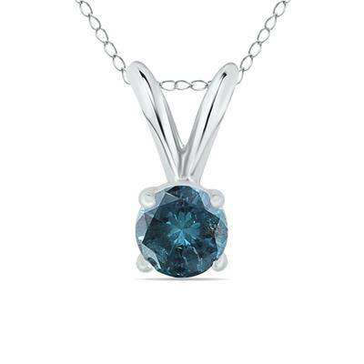 1/4 Carat Round Blue Diamond Solitaire Pendant in 14K White Gold
