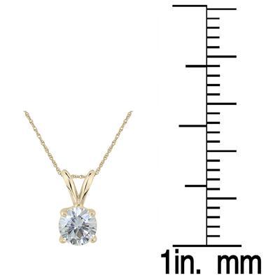 1/3 Carat Round Diamond Solitaire Pendant in 14K Yellow Gold