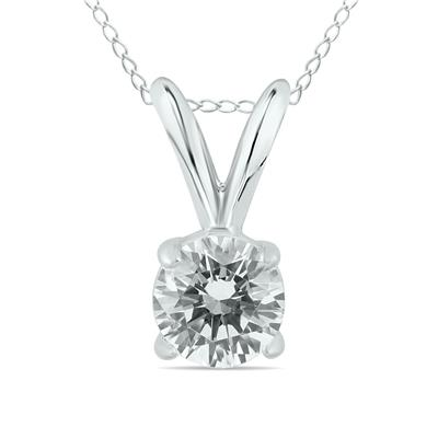 AGS Certified 1/2 Carat Round Diamond Solitaire Pendant in 14K White Gold K-L Color, I2-I3 Clarity)