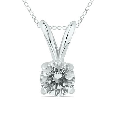 1/2 Carat Round Diamond Solitaire Pendant in 14K White Gold