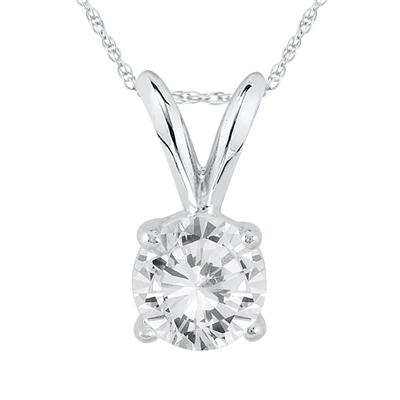 AGS Certified 3/4 Carat Round Diamond Solitaire Pendant in 14K White Gold (J-K Color, I2-I3 Clarity)