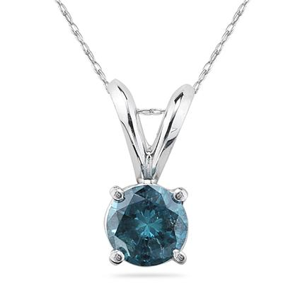 1.00 Carat Round Blue Diamond Solitaire Pendant in 14K White Gold