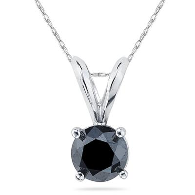 1.00 Carat Round Black Diamond Solitaire Pendant in 14K White Gold
