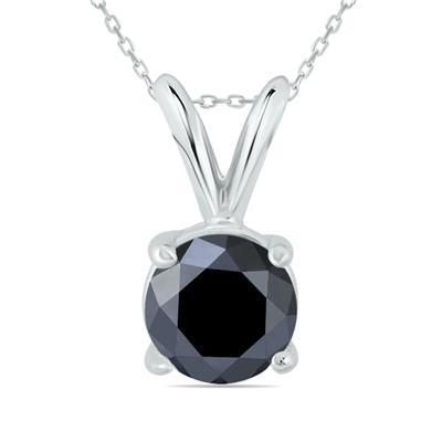 1 Carat Round Black Diamond Solitaire Pendant in 14K White Gold