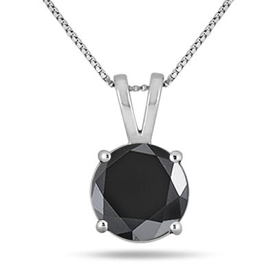 2.00 Carat Round Black Diamond Solitaire Pendant in 14K White Gold