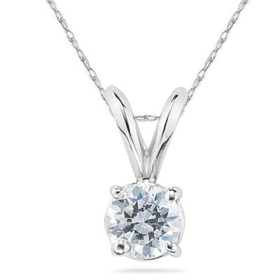 1/2 carat Round Diamond Solitaire Pendant in 14K White Gold (Premium Quality)