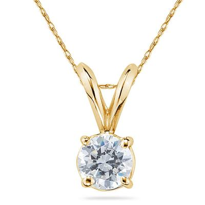 1/4 Carat Round Diamond Solitaire Pendant in 14K Yellow Gold