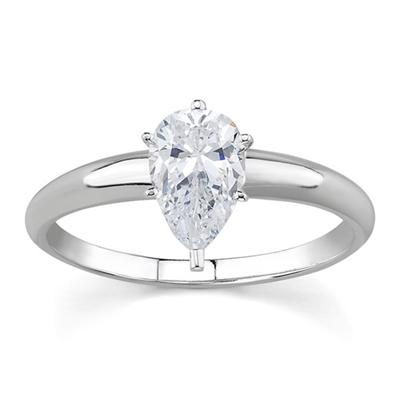 1/2 ct.tw Pear Diamond Solitaire Ring in 18k White Gold