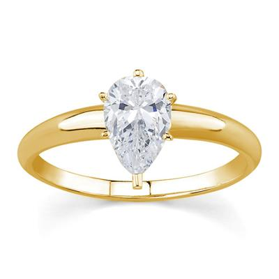 3/4 ct.tw Pear Diamond Solitaire Ring in 18k Yellow Gold