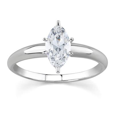 1/2 ct.tw Marquise Diamond Solitaire Ring in 18k White Gold