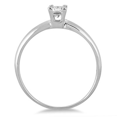 1/10 Carat Princess Diamond Solitaire Ring in 14K White Gold