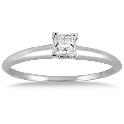 1/7 Carat Princess Diamond Solitaire Ring in 14K White Gold