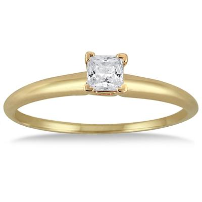 1/7 Carat Round Diamond Solitaire Ring in 14K Yellow Gold