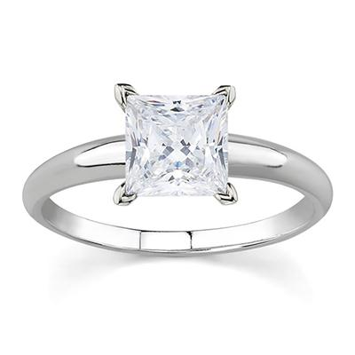 1/3 Carat princess Diamond Solitaire Ring in 14K White Gold