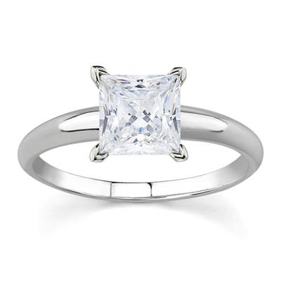 1/10 ct.tw Princess Diamond Solitaire Ring in 18k White Gold
