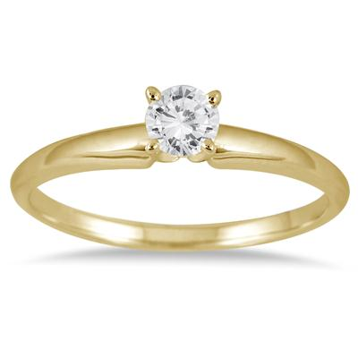 1/10 Carat Round Diamond Solitaire Ring in 14K Yellow Gold (Premium Quality)