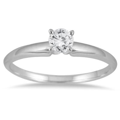 1/7 Carat Round Diamond Solitaire Ring in 14K White Gold (Premium Quality)