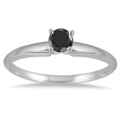 0.25 Carat Round Black Diamond Solitaire Ring in 14k White Gold