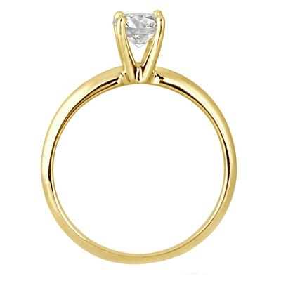 1/3 Carat Round Diamond Solitaire Ring in 14K Yellow Gold