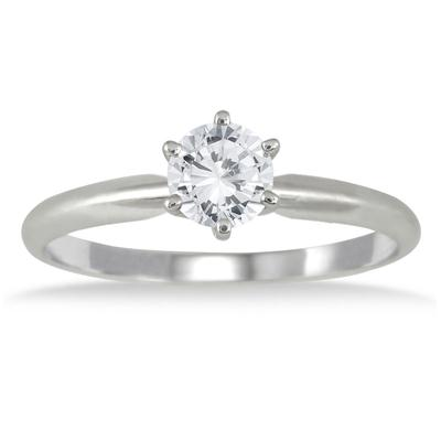 1/2 Carat Round Diamond Solitaire Ring in 14K White Gold (Premium Quality)