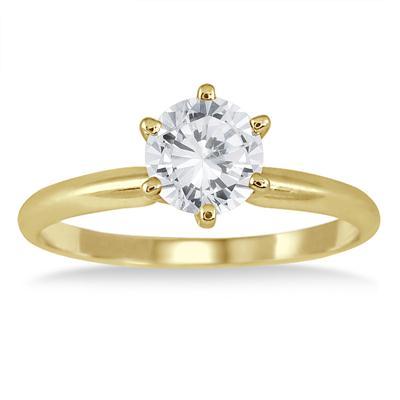 1 Carat Round Diamond Solitaire Ring in 14K Yellow Gold (Premium Quality)