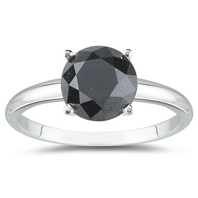 1.25 Carat Round Black Diamond Solitaire Ring in 14k White Gold