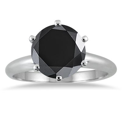 1.50 Carat Round Black Diamond Solitaire Ring in 14k White Gold