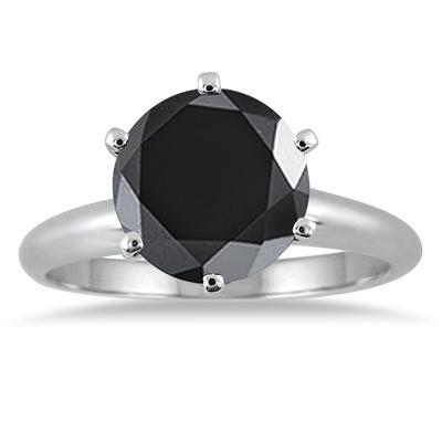 2.00 Carat Round Black Diamond Solitaire Ring in 14k White Gold