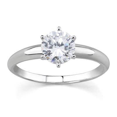 1.00 Carat Round Diamond Solitaire Ring in 14K White Gold