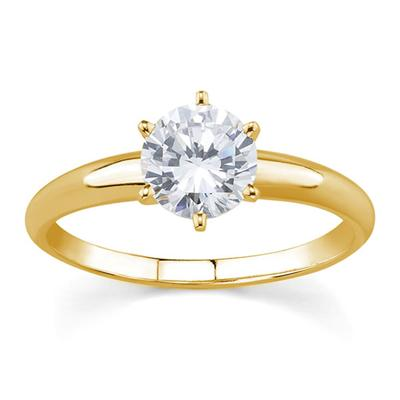 1/7 ct.tw Round Diamond Solitaire Ring in 18k Yellow Gold