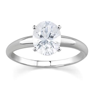 3/4 ct.tw Oval Diamond Solitaire Ring in 14k White Gold