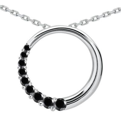 1.00 CTW Black Diamond Circle Journey Pendant in 10K White Gold