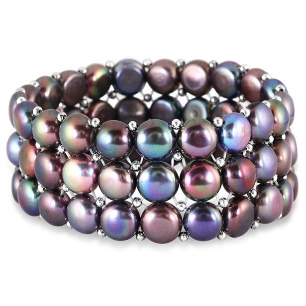 9-9.5MM Natural Freshwater Black Pearl Stretch Bracelet