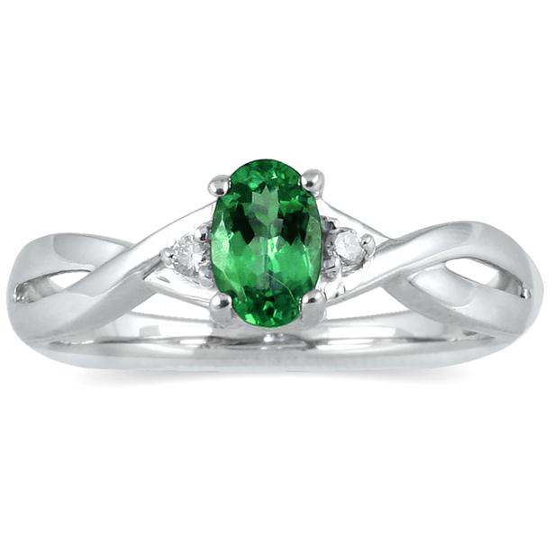 emerald and ring in 10k white gold spr12342em7 0