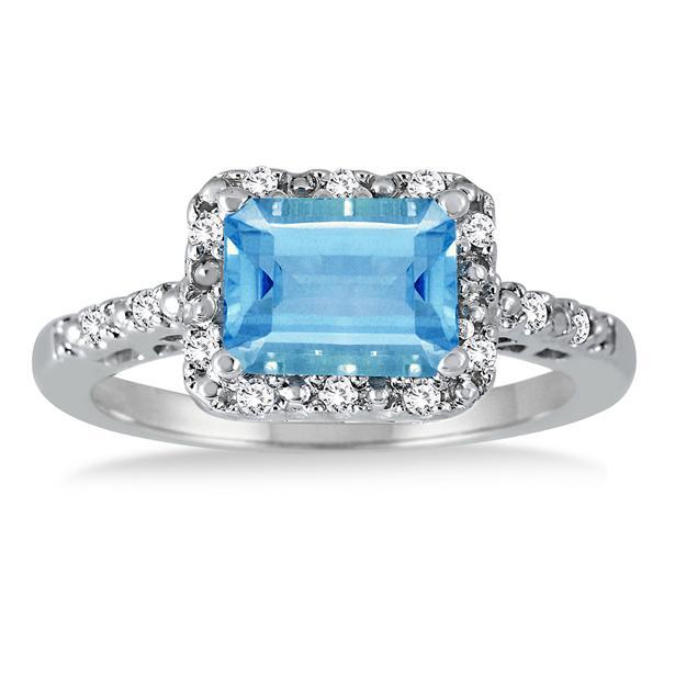 2 carat emerald cut blue topaz and ring in 925