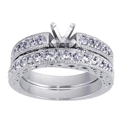Antique Engraved Diamond Bridal Set in White Gold