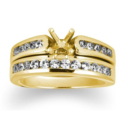 Diamond Channel Bridal Set in Yellow Gold