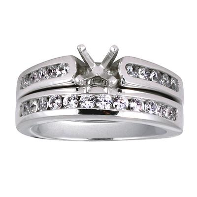Diamond Channel Bridal Set in White Gold