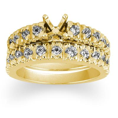 Diamond Bridal Set in Yellow Gold